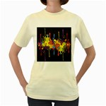 Crazy Multicolored Double Running Splashes Horizon Women s Yellow T-Shirt Front