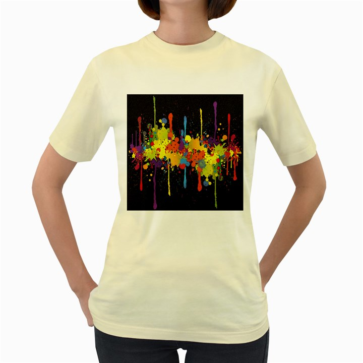 Crazy Multicolored Double Running Splashes Horizon Women s Yellow T-Shirt