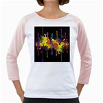 Crazy Multicolored Double Running Splashes Horizon Girly Raglans Front