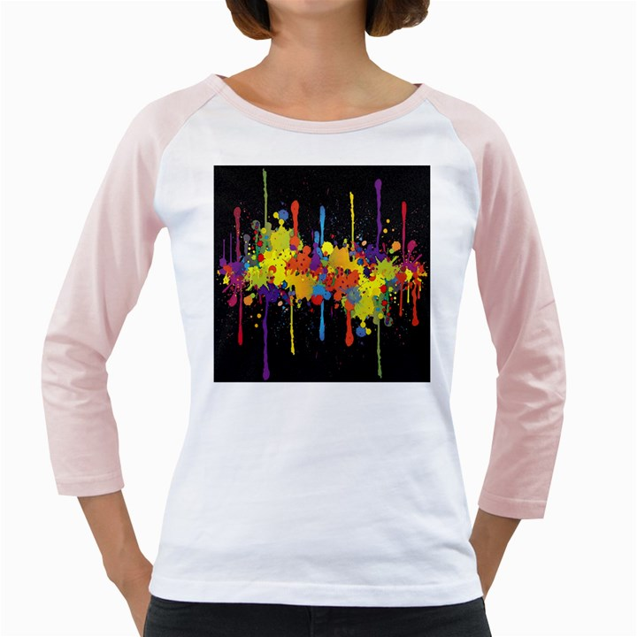 Crazy Multicolored Double Running Splashes Horizon Girly Raglans