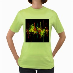 Crazy Multicolored Double Running Splashes Horizon Women s Green T-Shirt