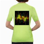 Crazy Multicolored Double Running Splashes Horizon Women s Green T-Shirt Back
