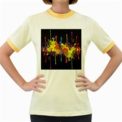 Crazy Multicolored Double Running Splashes Horizon Women s Fitted Ringer T Shirts