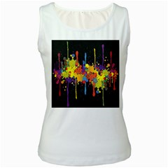 Crazy Multicolored Double Running Splashes Horizon Women s White Tank Top