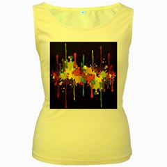 Crazy Multicolored Double Running Splashes Horizon Women s Yellow Tank Top