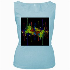 Crazy Multicolored Double Running Splashes Horizon Women s Baby Blue Tank Top