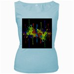 Crazy Multicolored Double Running Splashes Horizon Women s Baby Blue Tank Top Front