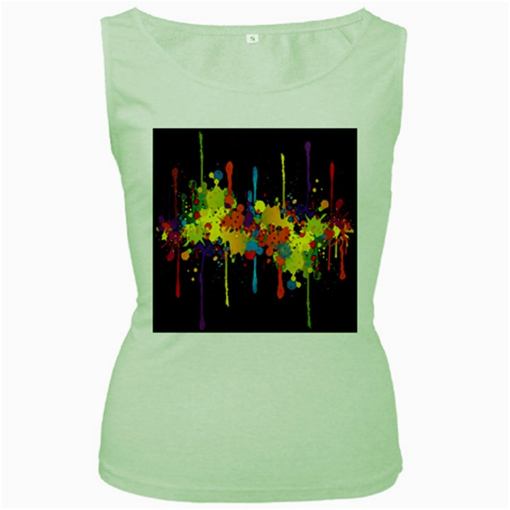 Crazy Multicolored Double Running Splashes Horizon Women s Green Tank Top
