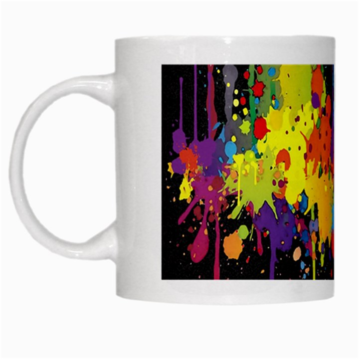 Crazy Multicolored Double Running Splashes Horizon White Mugs