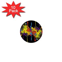 Crazy Multicolored Double Running Splashes Horizon 1  Mini Buttons (10 pack)