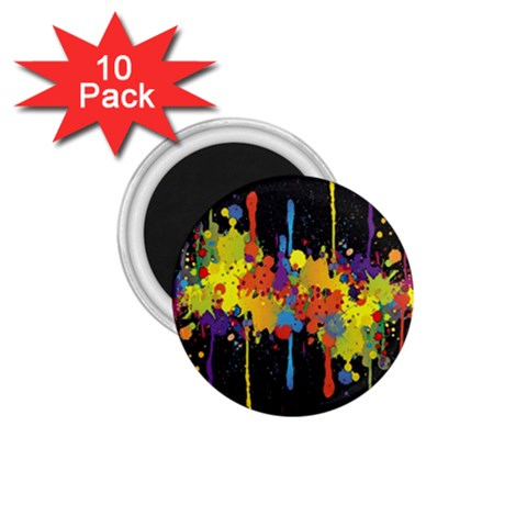 Crazy Multicolored Double Running Splashes Horizon 1.75  Magnets (10 pack)