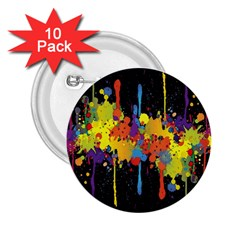 Crazy Multicolored Double Running Splashes Horizon 2.25  Buttons (10 pack)