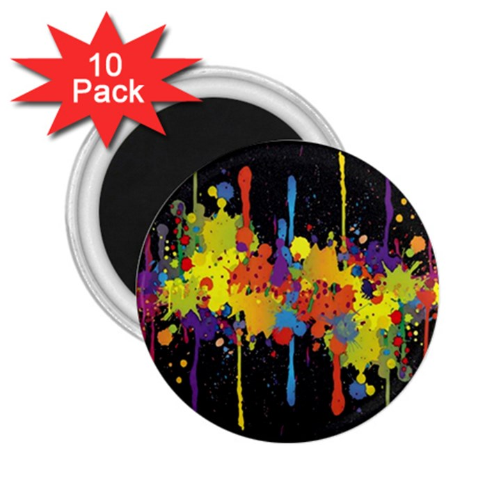 Crazy Multicolored Double Running Splashes Horizon 2.25  Magnets (10 pack)