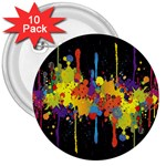 Crazy Multicolored Double Running Splashes Horizon 3  Buttons (10 pack)  Front