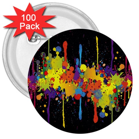 Crazy Multicolored Double Running Splashes Horizon 3  Buttons (100 pack)