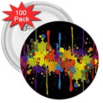 Crazy Multicolored Double Running Splashes Horizon 3  Buttons (100 pack)  Front