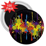 Crazy Multicolored Double Running Splashes Horizon 3  Magnets (100 pack) Front
