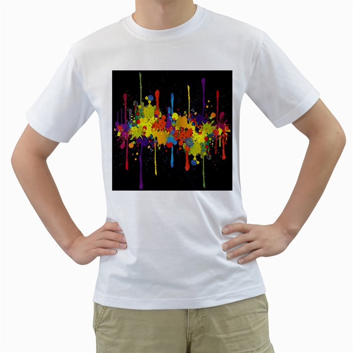 Crazy Multicolored Double Running Splashes Horizon Men s T-Shirt (White) (Two Sided)