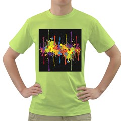 Crazy Multicolored Double Running Splashes Horizon Green T Shirt