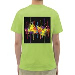Crazy Multicolored Double Running Splashes Horizon Green T-Shirt Back