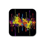 Crazy Multicolored Double Running Splashes Horizon Rubber Coaster (Square)  Front