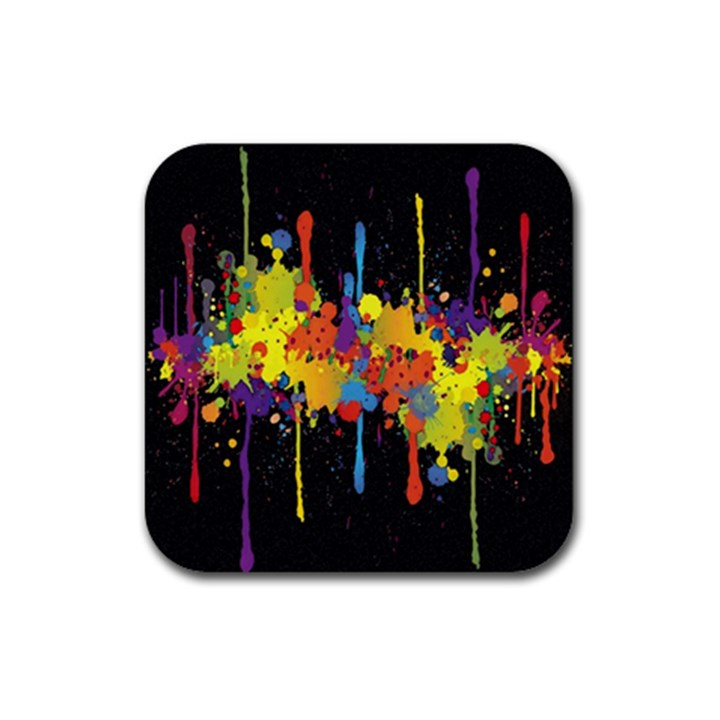Crazy Multicolored Double Running Splashes Horizon Rubber Square Coaster (4 pack)