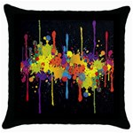 Crazy Multicolored Double Running Splashes Horizon Throw Pillow Case (Black) Front