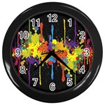 Crazy Multicolored Double Running Splashes Horizon Wall Clocks (Black) Front