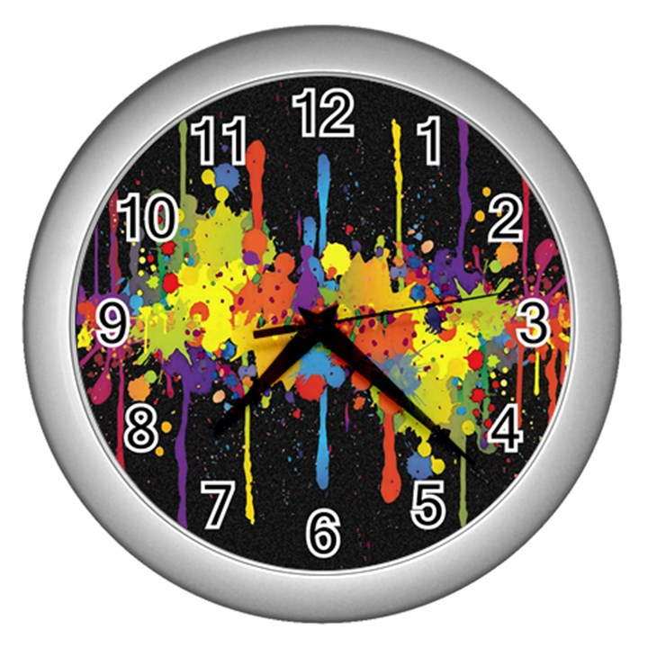 Crazy Multicolored Double Running Splashes Horizon Wall Clocks (Silver)