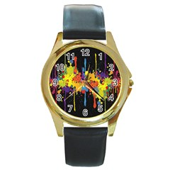 Crazy Multicolored Double Running Splashes Horizon Round Gold Metal Watch