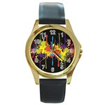 Crazy Multicolored Double Running Splashes Horizon Round Gold Metal Watch Front