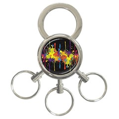 Crazy Multicolored Double Running Splashes Horizon 3-Ring Key Chains