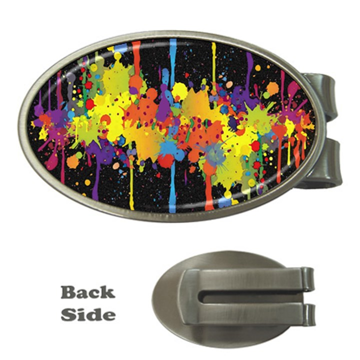 Crazy Multicolored Double Running Splashes Horizon Money Clips (Oval)