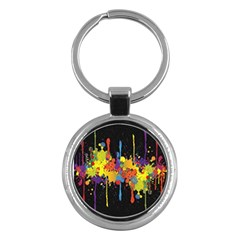 Crazy Multicolored Double Running Splashes Horizon Key Chains (round)
