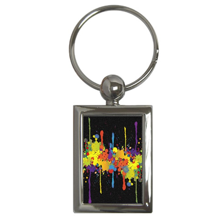 Crazy Multicolored Double Running Splashes Horizon Key Chains (Rectangle)