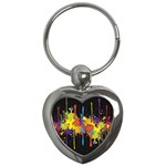 Crazy Multicolored Double Running Splashes Horizon Key Chains (Heart)  Front