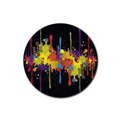 Crazy Multicolored Double Running Splashes Horizon Rubber Round Coaster (4 Pack)