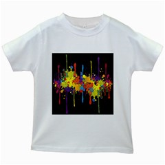 Crazy Multicolored Double Running Splashes Horizon Kids White T Shirts