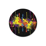Crazy Multicolored Double Running Splashes Horizon Magnet 3  (Round) Front