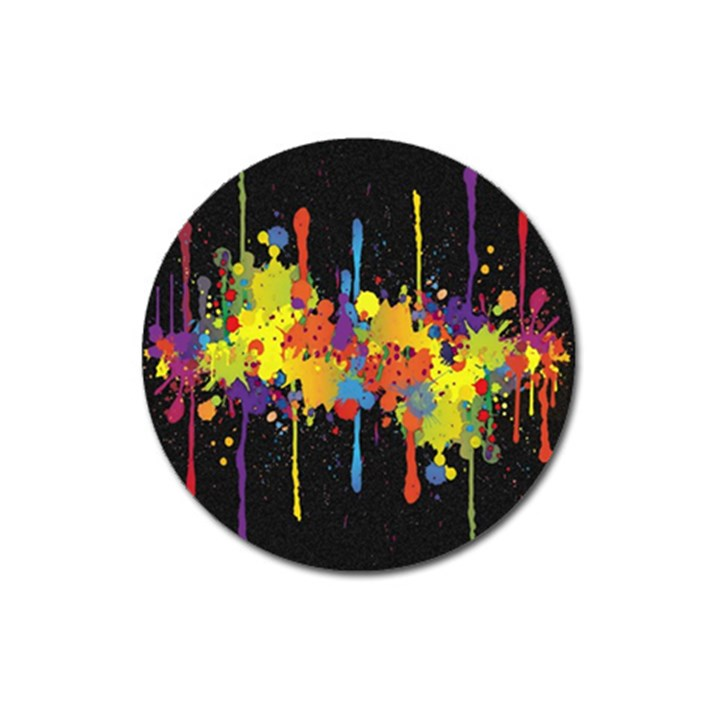 Crazy Multicolored Double Running Splashes Horizon Magnet 3  (Round)