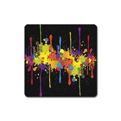 Crazy Multicolored Double Running Splashes Horizon Square Magnet