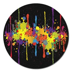 Crazy Multicolored Double Running Splashes Horizon Magnet 5  (round)