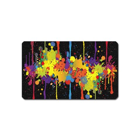 Crazy Multicolored Double Running Splashes Horizon Magnet (Name Card)