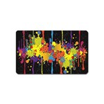 Crazy Multicolored Double Running Splashes Horizon Magnet (Name Card) Front