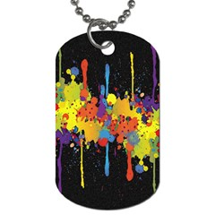 Crazy Multicolored Double Running Splashes Horizon Dog Tag (One Side)