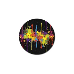 Crazy Multicolored Double Running Splashes Horizon Golf Ball Marker