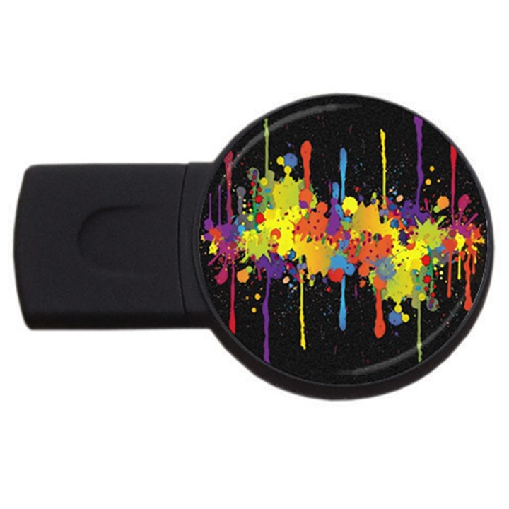 Crazy Multicolored Double Running Splashes Horizon USB Flash Drive Round (1 GB)