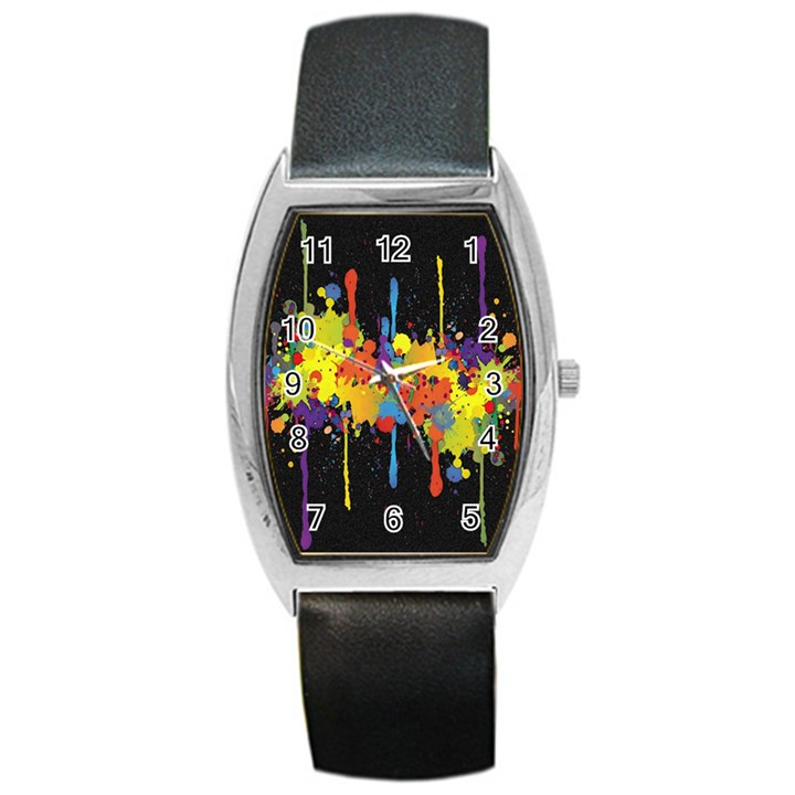 Crazy Multicolored Double Running Splashes Horizon Barrel Style Metal Watch