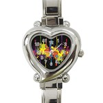 Crazy Multicolored Double Running Splashes Horizon Heart Italian Charm Watch Front