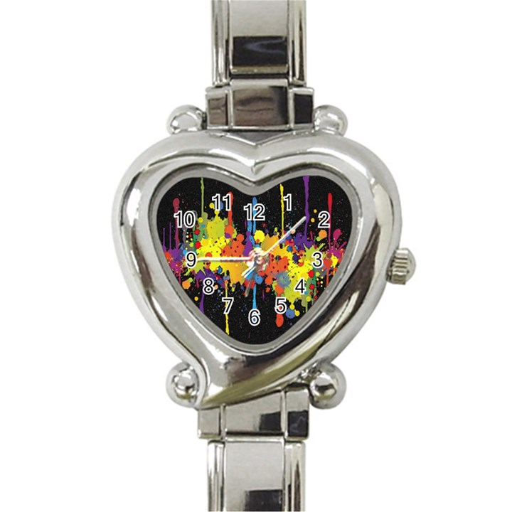 Crazy Multicolored Double Running Splashes Horizon Heart Italian Charm Watch